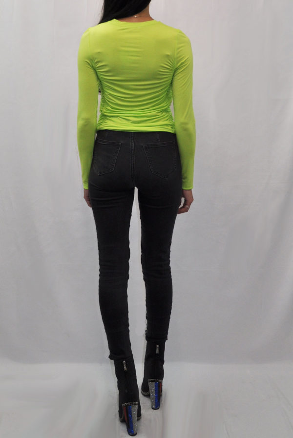 green long sleeve rouched top- back