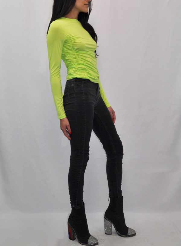 green long sleeve rouched top- side