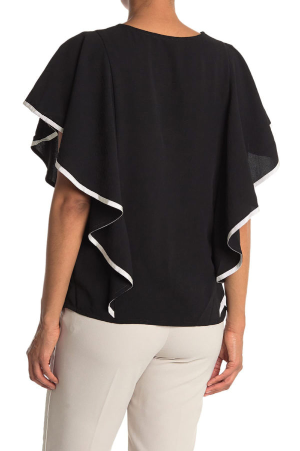 CONTRAST STITCH CASCADE SLEEVE BLACK TOP- BACK