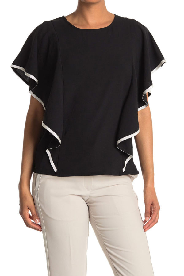 CONTRAST STITCH CASCADE SLEEVE BLACK TOP- FRONT