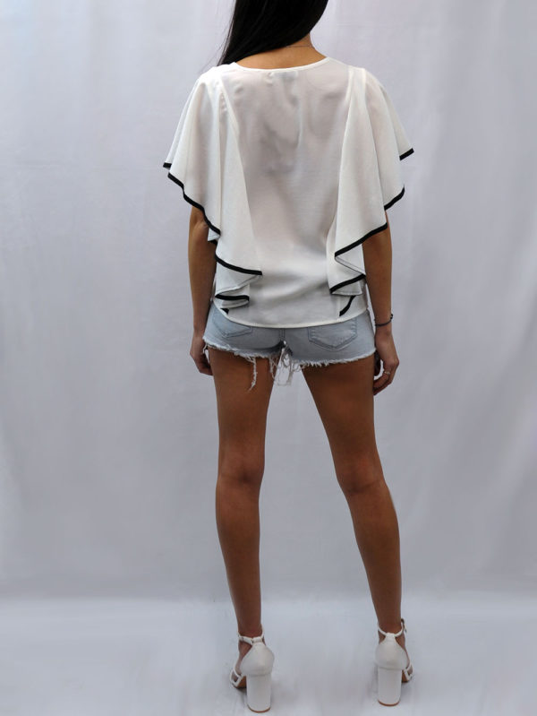 CONTRAST CASCADE SLEEVE WHITE TOP- BACK