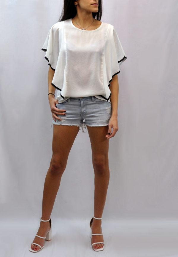CONTRAST CASCADE SLEEVE WHITE TOP- FRONT