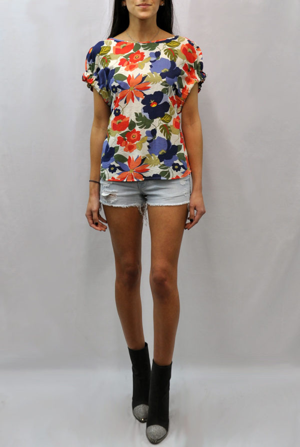 elastic short sleeve multi floral printed top- front