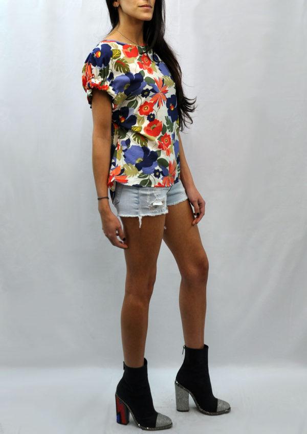 elastic short sleeve multi floral printed top- side