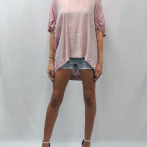 SHORT DRAWSTRING SLEEVE PINK TOP- FRONT