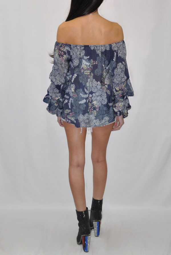 FLORAL PRINTED OFF THE SHOULDER RUFFLE SLEEVE NAVY TOP- BACK