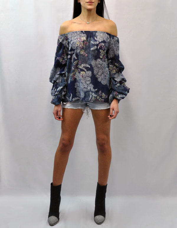 FLORAL PRINTED OFF THE SHOULDER RUFFLE SLEEVE NAVY TOP- FRONT