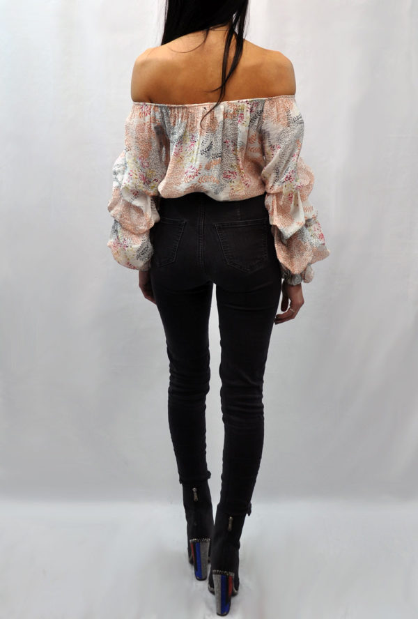 FLORAL PRINTED OFF THE SHOULDER RUFFLE SLEEVE OFF WHITE TOP- BACK
