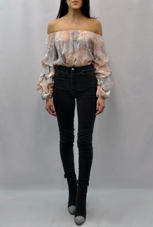 FLORAL PRINTED OFF THE SHOULDER RUFFLE SLEEVE OFF WHITE TOP- FRONT