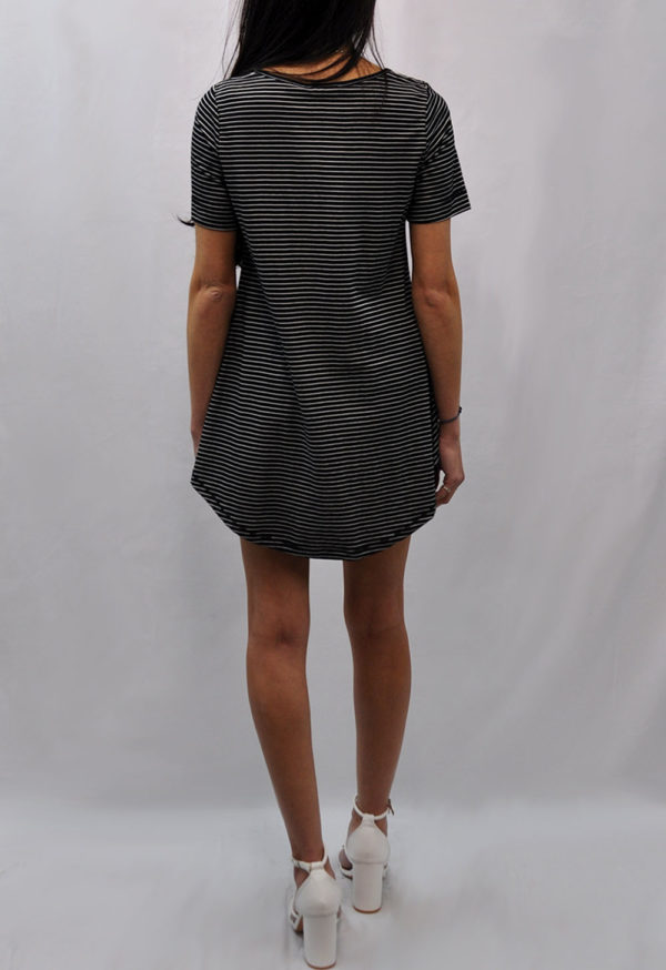 knot front high low black striped tshirt- back