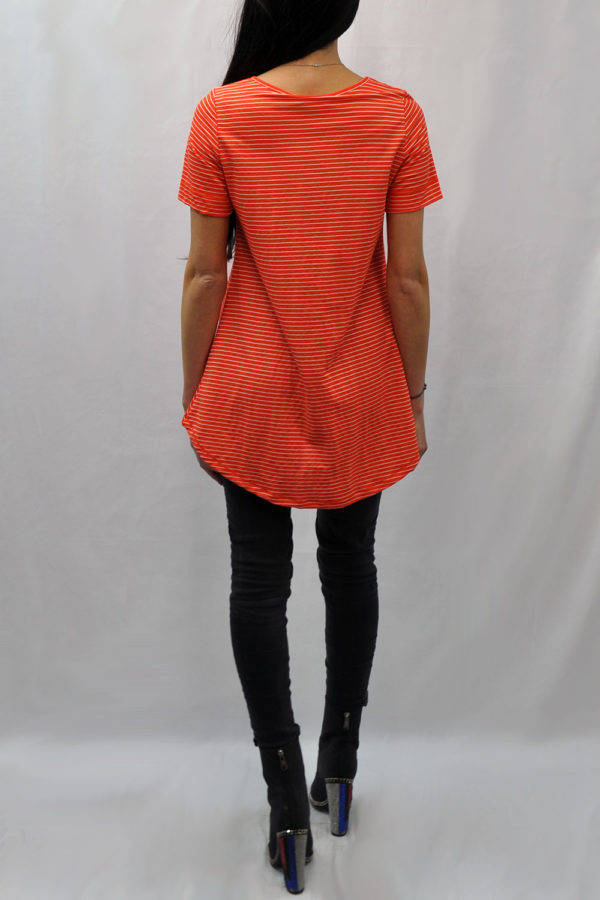 knot front high low coral striped tshirt- back