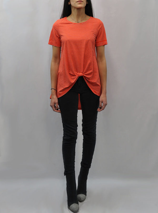 knot front high low coral striped tshirt- front