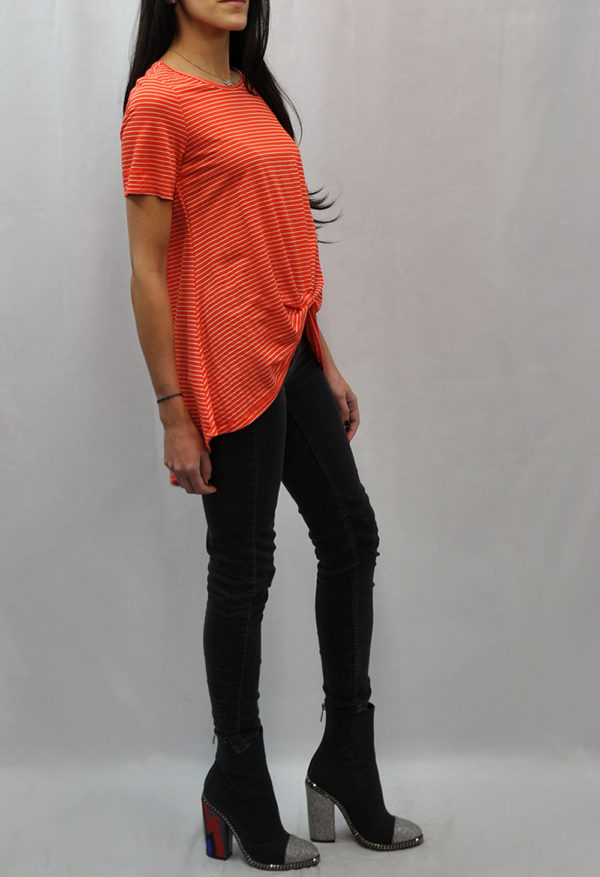 knot front high low coral striped tshirt- side