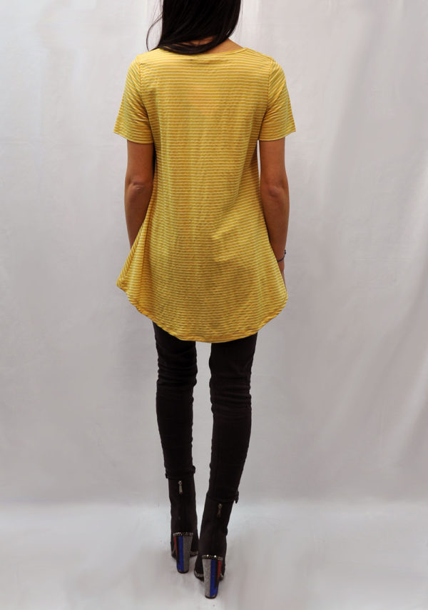 knot front high low yellow striped tshirt- back