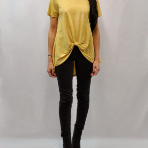 knot front high low yellow striped tshirt- front
