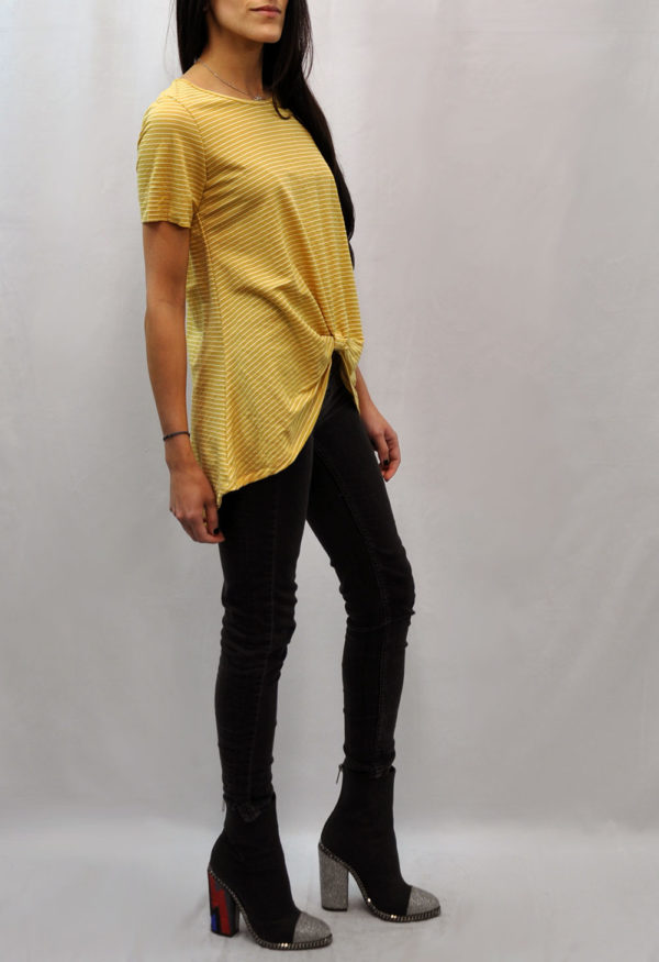 knot front high low yellow striped tshirt- side