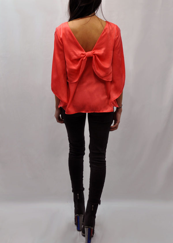 BOW BACK CORAL TOP- BACK