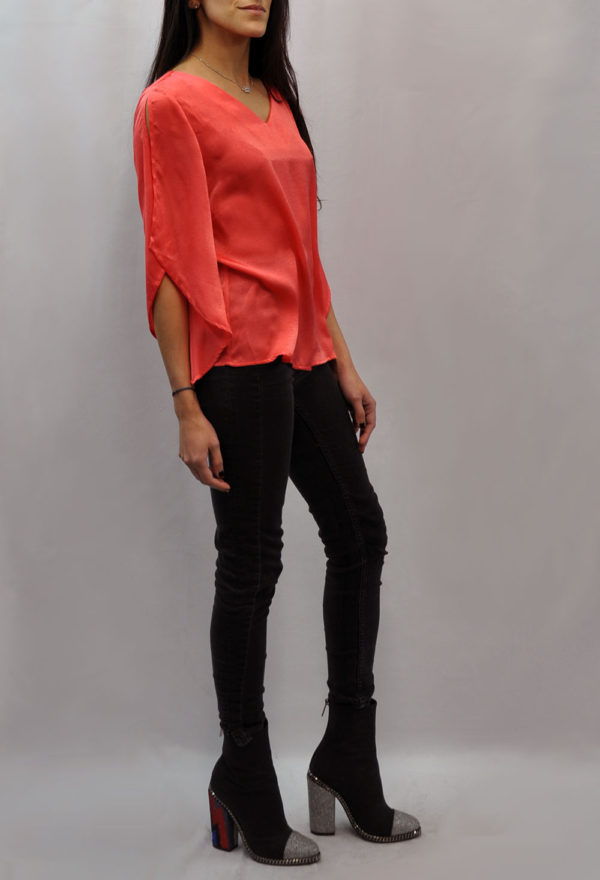 BOW BACK CORAL TOP- SIDE