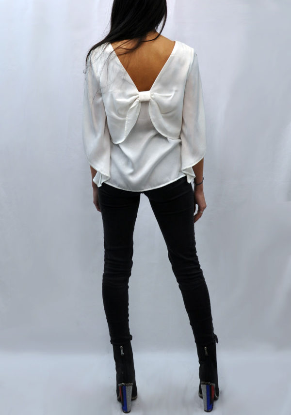 BOW BACK WHITE TOP- BACK