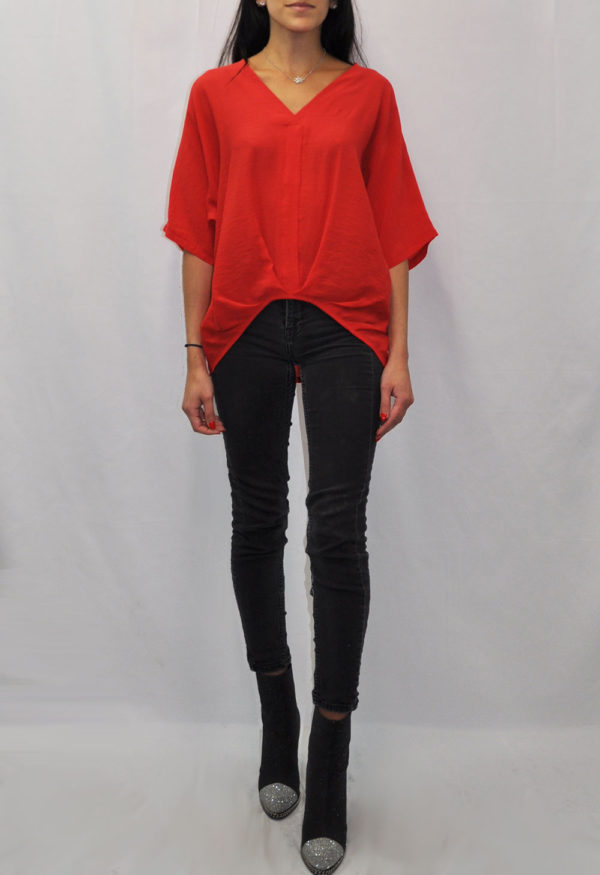 FRONT PLEAT V NECK RED TEE- FRONT