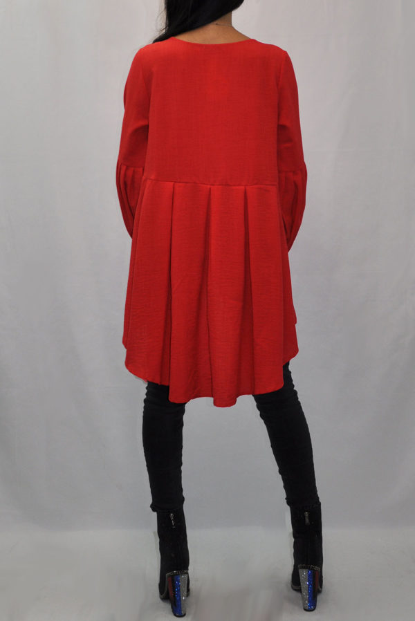 BALLOON SLEEVE HIGH LOW CORAL TUNIC TOP- BACK
