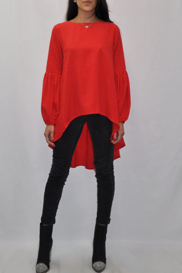 BALLOON SLEEVE HIGH LOW CORAL TUNIC TOP- FRONT