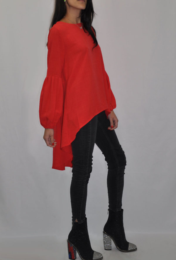 BALLOON SLEEVE HIGH LOW CORAL TUNIC TOP- SIDE