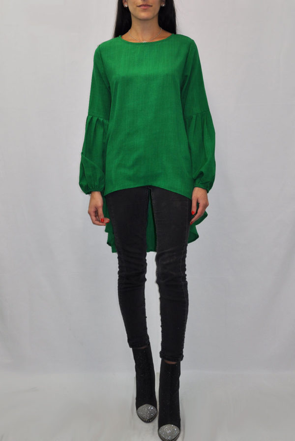 BALLOON SLEEVE HIGH LOW GREEN TUNIC TOP- FRONT