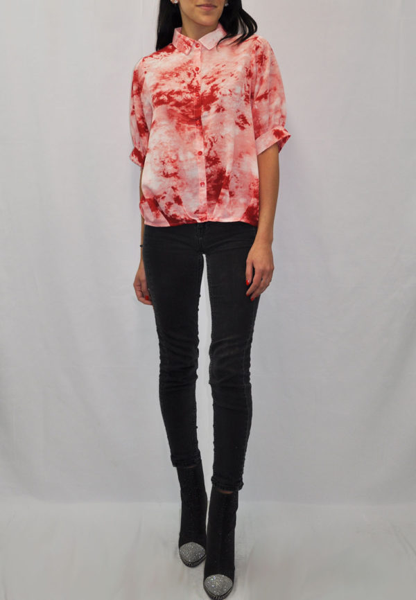 ORANGE PRINTED PLEATED BLOUSE- FRONT