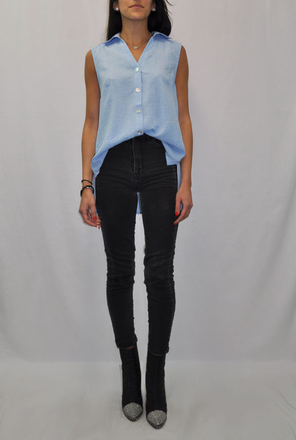 BUTTON UP SLEEVELESS BLUE TOP- FRONT