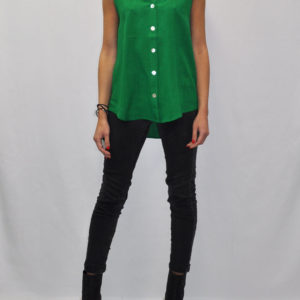 BUTTON UP SLEEVELESS GREEN TOP- FRONT