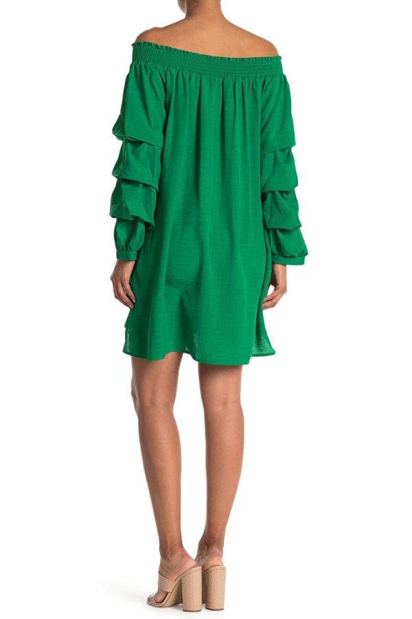 elastic neck kelly green tunic dress with ruffle sleeves- back