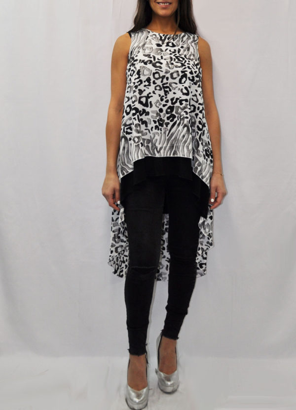 SLEEVELESS GREY ANIMAL PRINTED LAYERED TOP- FRONT
