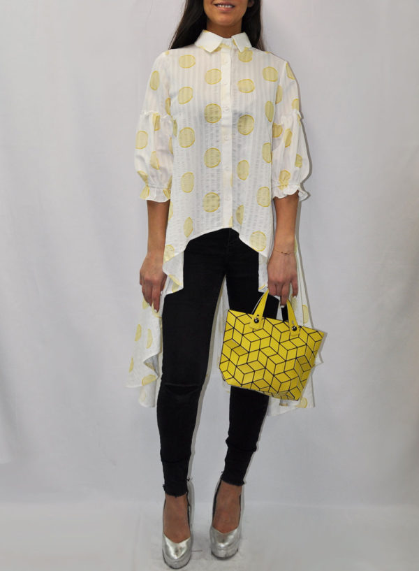 PUFF SLEEVE YELLOW DOT PRINTED BLOUSE- FRONT