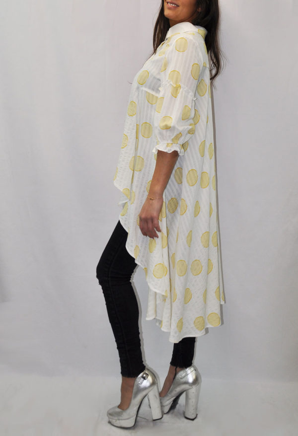 PUFF SLEEVE YELLOW DOT PRINTED BLOUSE- SIDE