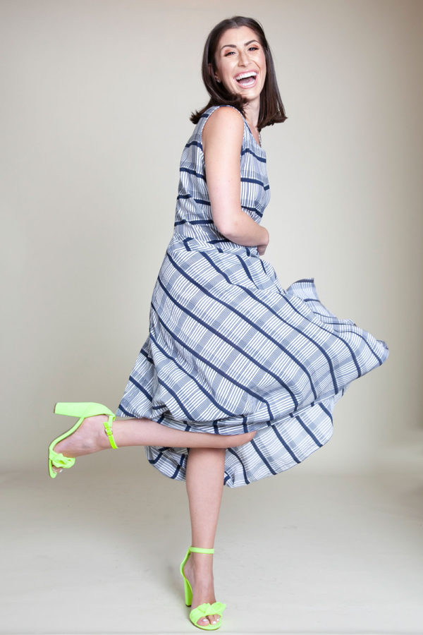 BLUE PLAID PRINTED BALLOON DRESS- SIDE