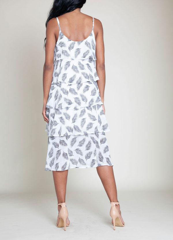 BLACK AND WHITE PRINTED LAYERED CAMI DRESS- BACK