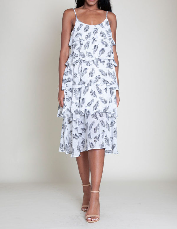 BLACK AND WHITE PRINTED LAYERED CAMI DRESS- FRONT