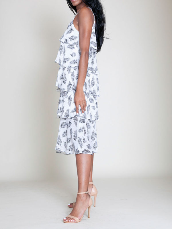BLACK AND WHITE PRINTED LAYERED CAMI DRESS- SIDE