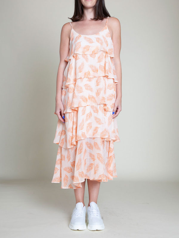 ORANGE AND WHITE PRINTED LAYERED CAMI DRESS- FRONT