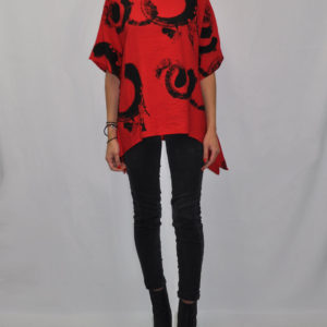PRINTED ASYMMETRICAL OVERSIZED RED TOP- FRONT