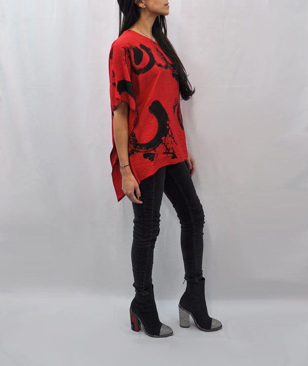 PRINTED ASYMMETRICAL OVERSIZED RED TOP- SIDE