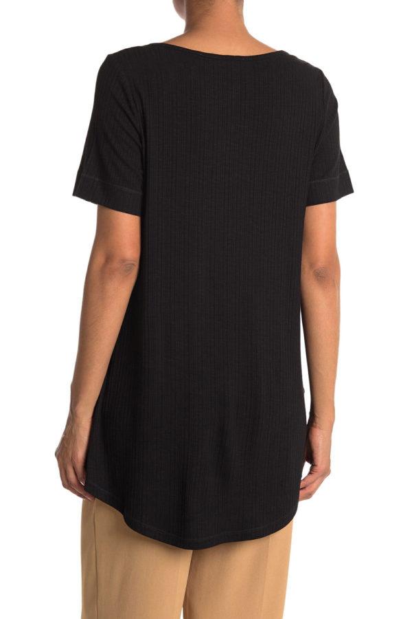 knot front short sleeve black tshirt top- back