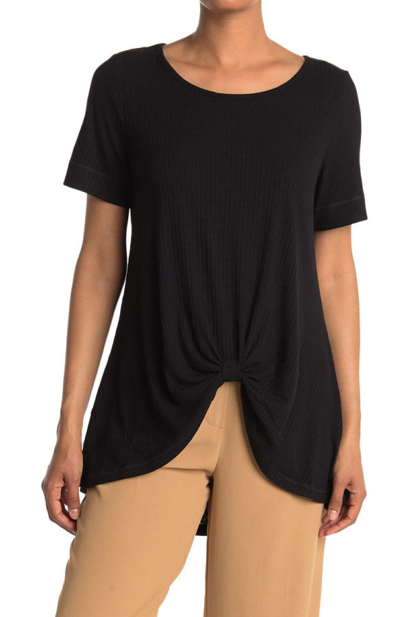 knot front short sleeve black tshirt top- front