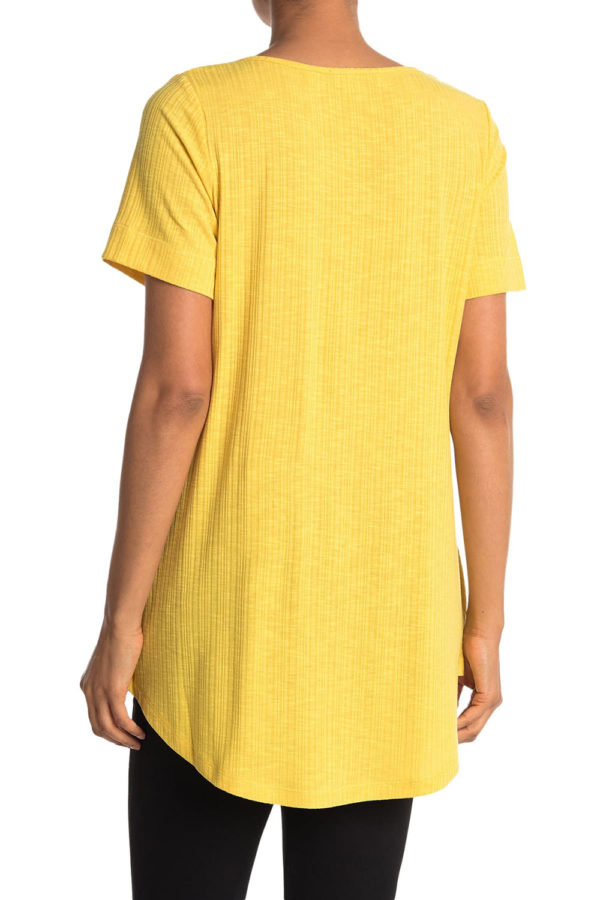 knot front short sleeve yellow tshirt top- back