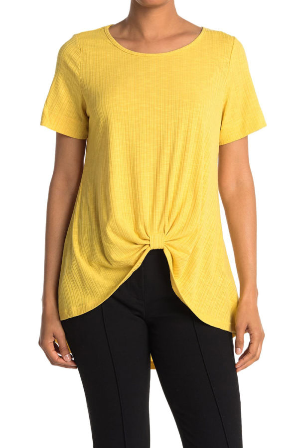 knot front short sleeve yellow tshirt top- front
