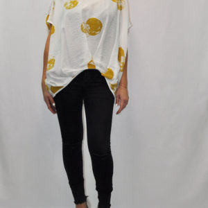YELLOW DOT PRINT OVERSIZED WHITE TOP- FRONT