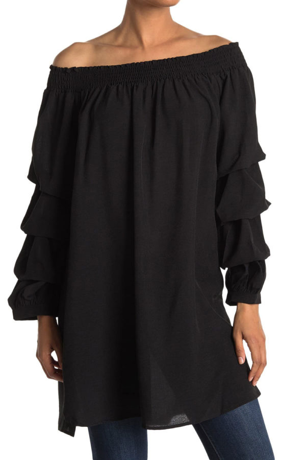 elastic neck black tunic dress with ruffle sleeves- front