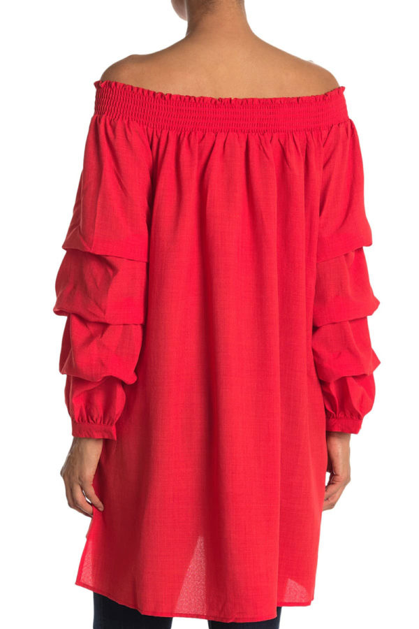 elastic neck coral tunic dress with ruffle sleeves- back