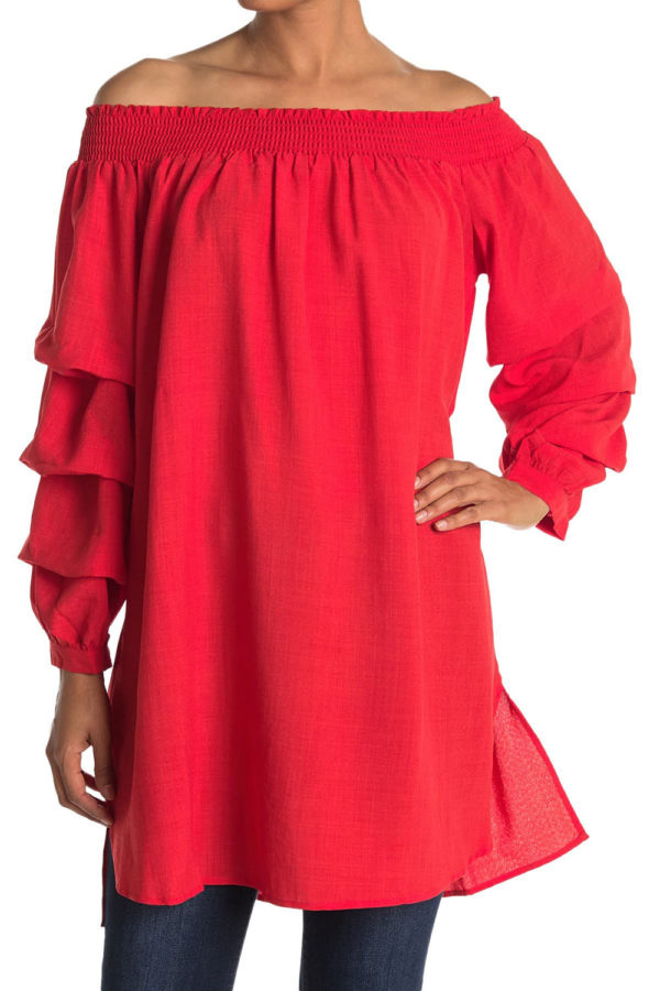 elastic neck coral tunic dress with ruffle sleeves- front
